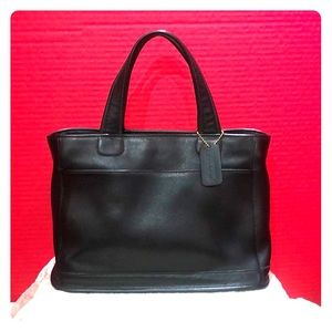 Black leather tote by Coach